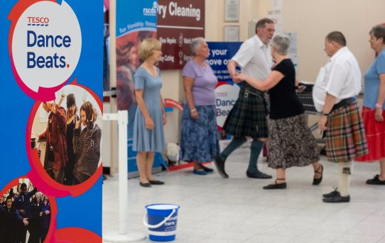RSCDS join in Dance Beats fundraiser at Tesco - July 2019